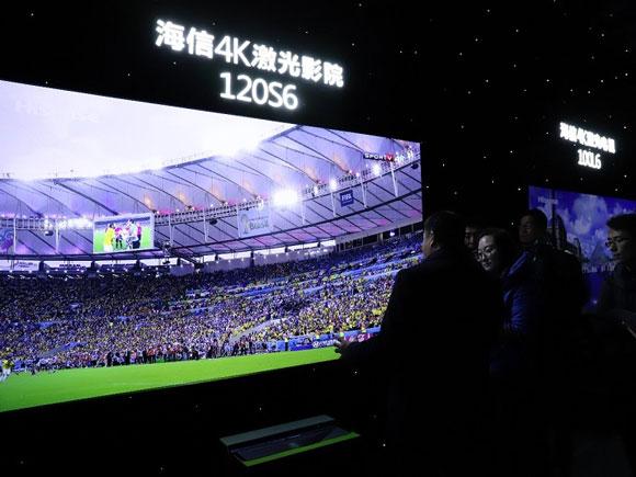 海信发新品:全球首款150英寸4K激光电视